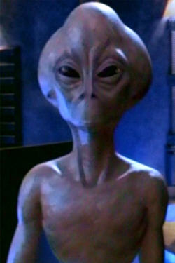 Aliens of the 'grey' variety are said to look similar to this alien from the television series Stargate. This screenshot is copyrighted by those who own the copyright to the TV show.