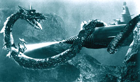 Manda, a sea serpent from the Japanese film Atragon, looks much like the classic Asian idea of a dragon. This screenshot is copyrighted by those who own the copyright to the film.