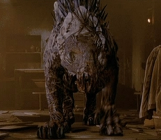 The Beast of Gevaudan as depicted in the film 'Brotherhood of the Wolf'. This image is copyrighted by those who own the copyright to the movie.