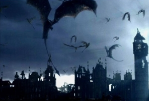 Winged dragons hover over a ruined cityscape in the film 'Reign of Fire'. This screenshot is copyrighted by those who own the copyright to the film.