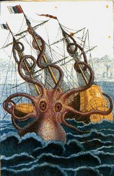 This watercolor and ink drawing of a giant octopus was made by Pieere Denys de Montfort in 1810. It is old enough to be in the public domain.