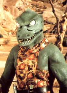 Reptile people or reptoids, similar to this Gorn from Star Trek, are reported in legends as well as existing in fiction. This screenshot is copyrighted by those who own the copyright to the TV series.