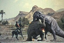 Some scientists working within the field of cryptozoology think that dinosaurs may have coexisted with humans, as in this scene from the movie 'The Valley of Gwangi' by the stop motion animation master Ray Harryhausen. This screenshot is copyrighted by those who own the copyright to the film.