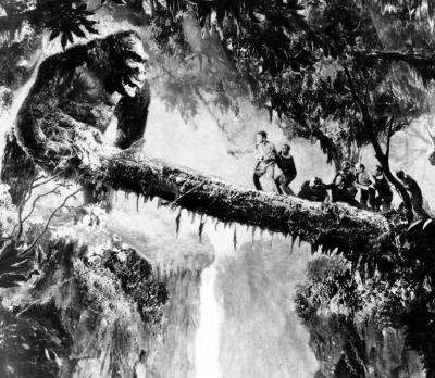 The 1933 version of 'King Kong' displays people's fascination with the idea of giant monkeys and apes. This screenshot is copyrighted by those who own the copyright to the film.