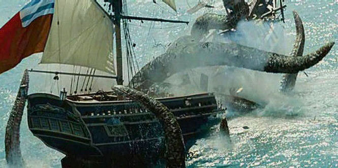 The kraken was portrayed as a legendary supernatural creature in the film 'Pirates of the Caribbean: Dead Man's Chest' even though it is now known to be a real animal. This movie still is copyright Walt Disney Pictures.