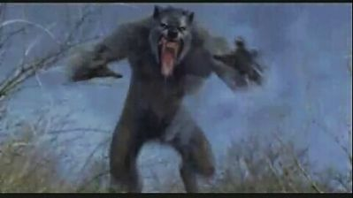 This werewolf is one of three werewolves from the film Van Helsing, here shown blurred by fast motion as it is trying to pounce on Kate Beckinsale (offscreen). This screenshot is copyrighted by those who own the copyright to the film.